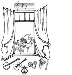 Window music2 black white vector