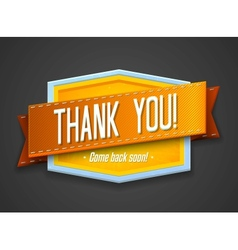 Vintage thank you label vector image