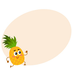 Cute and funny pineapple character running with vector