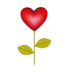 red heart balloon plant icon vector image