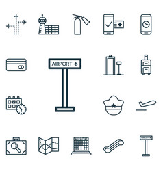 Set of 16 transportation icons includes road map vector