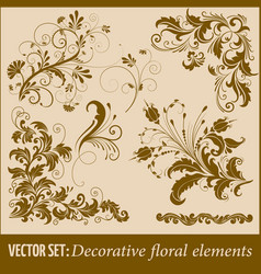 Set of hand drawn decorative floral vector
