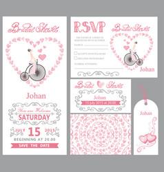 Wedding invitationbride onretro bikepink decor vector