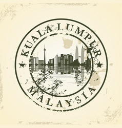 grunge rubber stamp with kuala lumpur malaysia vector image