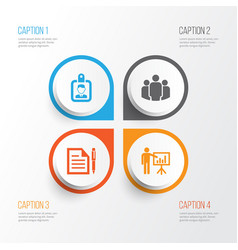 Job icons set collection of contract presenting vector