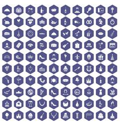 100 banquet icons hexagon purple vector