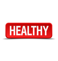 Healthy red 3d square button on white background vector