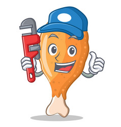 Plumber fried chicken character cartoon vector