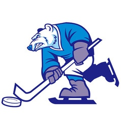 Ice hockey polar bear mascot vector