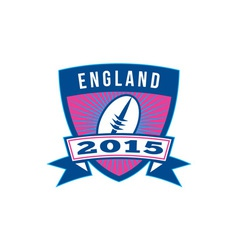 Rugby Ball England 2015 Shield Retro vector image