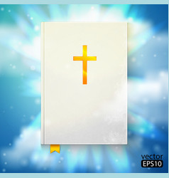 Bible with sun rays vector