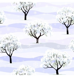 Trees in snow in winter garden seamless vector