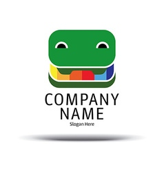 Cheerful crocodile pencil box logo green crocodile vector
