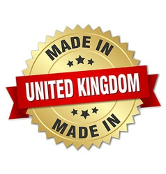 Made in united kingdom gold badge with red ribbon vector