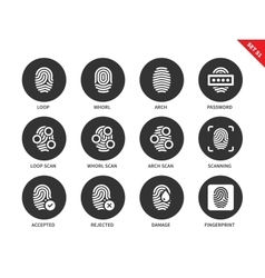 Fingerprint icons on white background vector