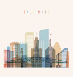 Baltimore state maryland skyline silhouette vector