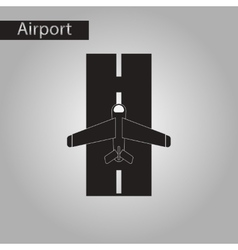 Black and white style icon airplane runway vector