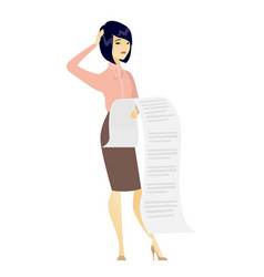 Business woman holding long bill vector