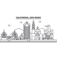 california san diego architecture line skyline vector image