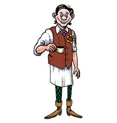 cartoon image of barista serving coffee vector image vector image