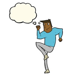 Cartoon man jogging on spot with thought bubble vector