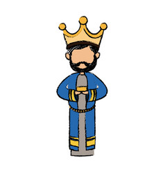 cute cartoon wise king manger character vector image