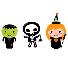 Cute halloween kids - zombie skeleton and witch vector