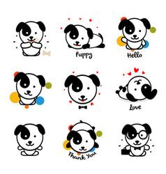 Cute puppy logo set favorite pet logotype vector
