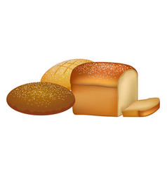 delicious fresh bread loafs with sprinkles set vector image