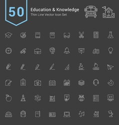 Education and Knowledge Thin Icon Set vector image