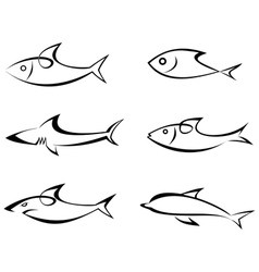 fish outlines vector image