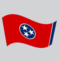 flag of tennessee waving on gray background vector image