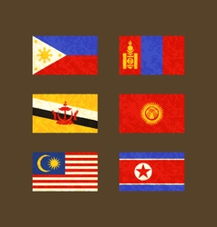 Flags of Philippines Brunei Malaysia Mongolia vector image vector image