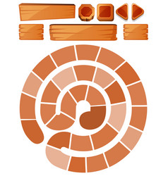 game template with spiral and wooden signs vector image