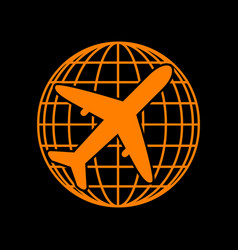 Globe and plane travel sign orange icon on black vector