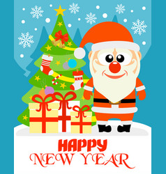 happy new year card with funny santa claus vector image vector image