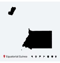 High detailed map of Equatorial Guinea with pins vector image vector image