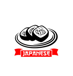 Icon for japanese sushi cuisine restaurant vector