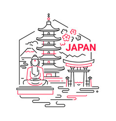 Japan- modern line travel vector