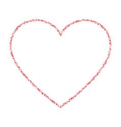 Red hand drawn thin contour grunge heart logo vector