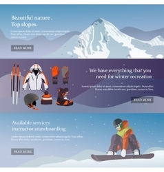 set of Ski and Snowboard equipment banners vector image vector image