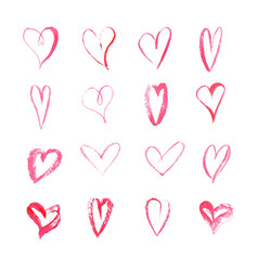 set of watercolor hearts on white background vector image vector image