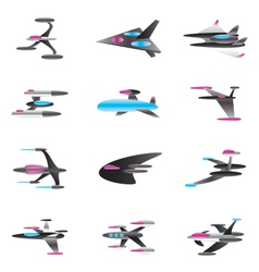 Spaceships in perspective vector image
