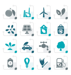stylized green environment and ecology icons vector image vector image