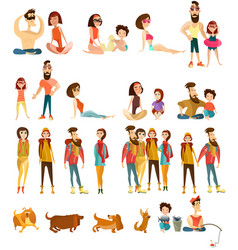 tourist people characters flat icons set vector image