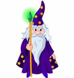 wizard with staff vector image vector image