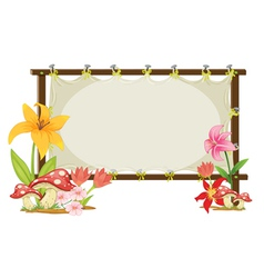 board and flowers vector image