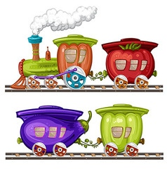 Vegetables trains wagons and rails vector