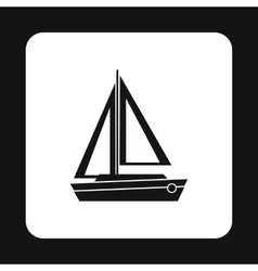 Boat with two sails icon simple style vector