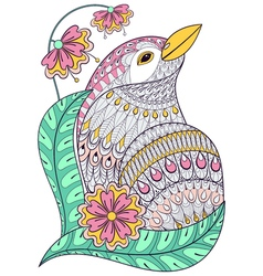 Zentangle exotic bird in colorful flowers Hand vector image